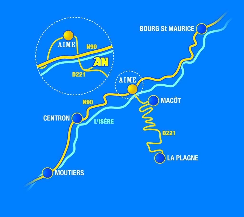 Accès rafting Savoie - base AN Rafting Macôt la Plagne - Haute Isère